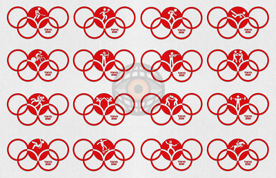 TOKYO, JAPAN, 24 July - 9 August 2020. Graphic interpretation for the the Tokyo Summer Olympics 2020 - Sport Icons 3.