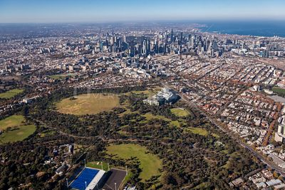 Aerial view of Parkville with Melbourne in the Background, Australia.
