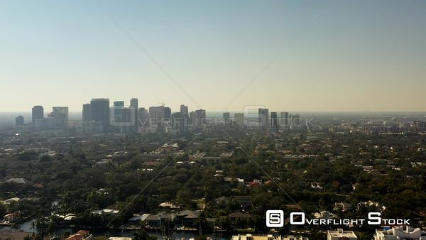Aerial Side View Downtown Fort Lauderdale Florida City Skyline