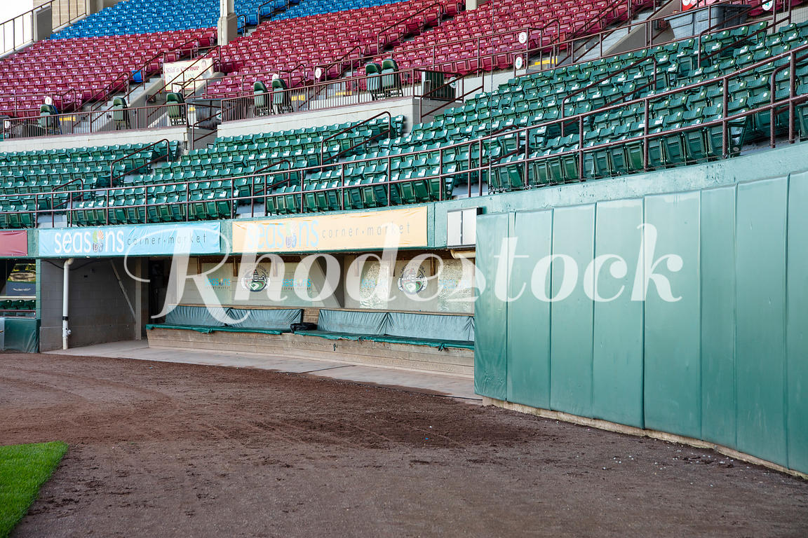 View of Players Dugout and Surrounding Stands at McCoy Stadium
