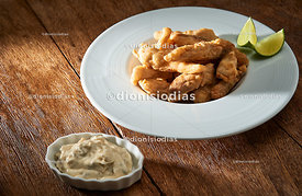 Portion of Fried Hake with Mayonnaise