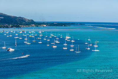 Sailboats at Tropical Islands of French Polynesia. Capital City Papeete on Tahiti
