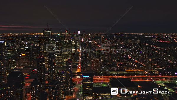 Toronto Ontario Picturesque cityscape panoramic from inland to lake at sunset dusk night