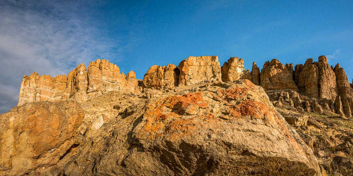 Colourful rock at Clarno in the John Day Fossil Beds National Monument, Central Oregon.