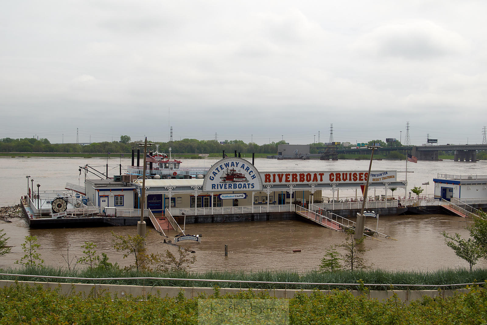 Flooded River Boat in St Louis Missouri