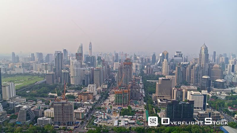 Thailand Bangkok Aerial Panoramic cityscape and park view
