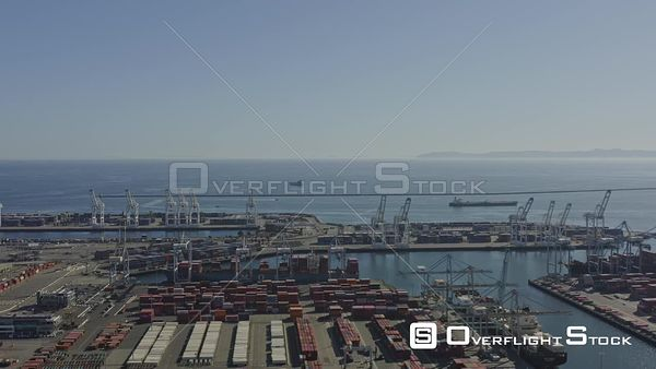 Long Beach CA Panoramic oceanscape and shipyard port views