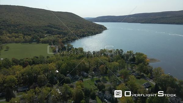 Canandaigua Lake and Village Drone View Upstate New York