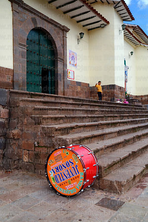 Drum outside main entrance of Santa Ana church, Cusco, Peru
