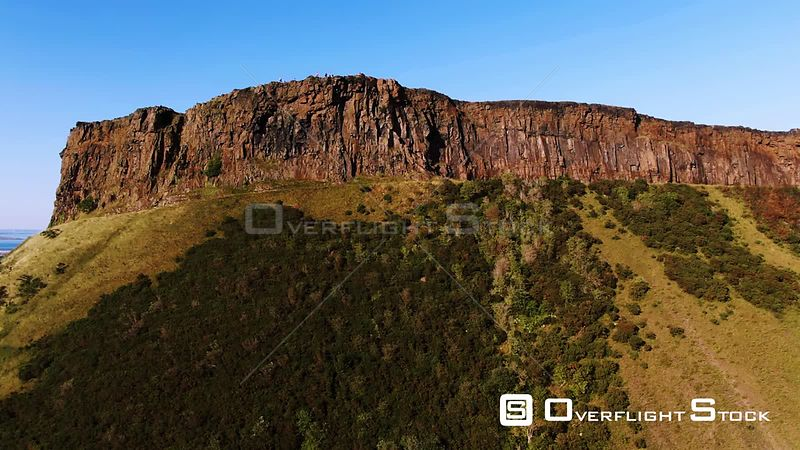 Aerial view of Arthur's seat in Edinburgh Scotland