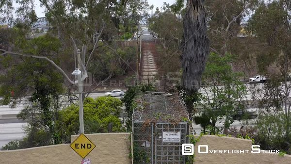 Closed off Pedestrian Overpass Mid City Neighbourhood Los Angeles California Drone Aerial View