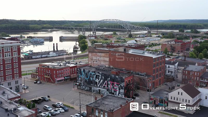 Bridge over the Mississippi, viewed from downtown buildings, Dubuque, Iowa, USA