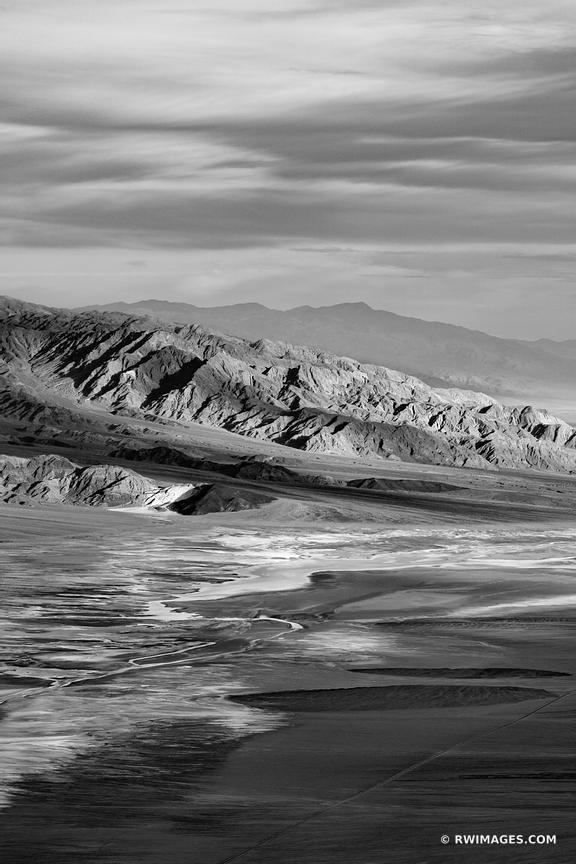 DANTE'S VIEW DEATH VALLEY CALIFORNIA AMERICAN SOUTHWEST DESERT BLACK AND WHITE VERTICAL LANDSCAPE