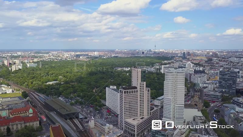 Germany Berlin Aerial Flying over Charlottenburg area with Tiergarten views