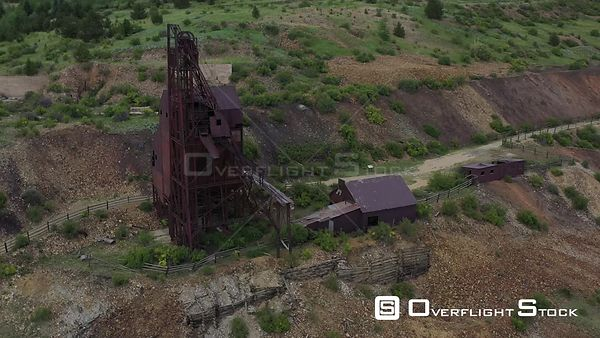 Mine shaft tower and ore processing building, Victor, Colorado, USA