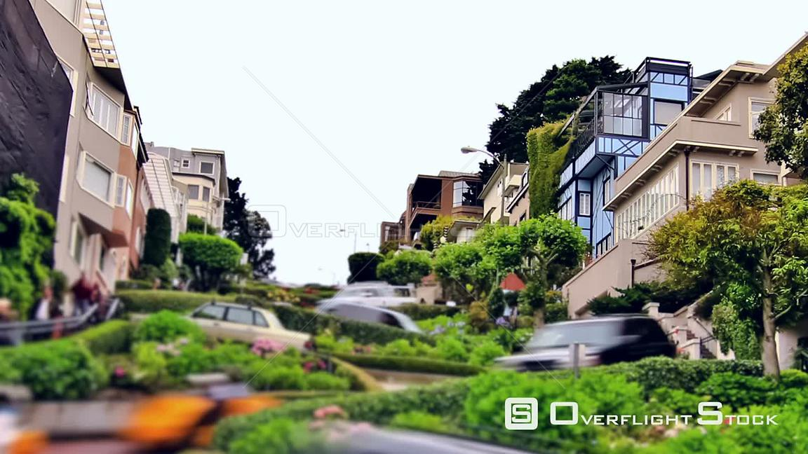 Cty traffic time lapse of Lombard street  San Francisco California