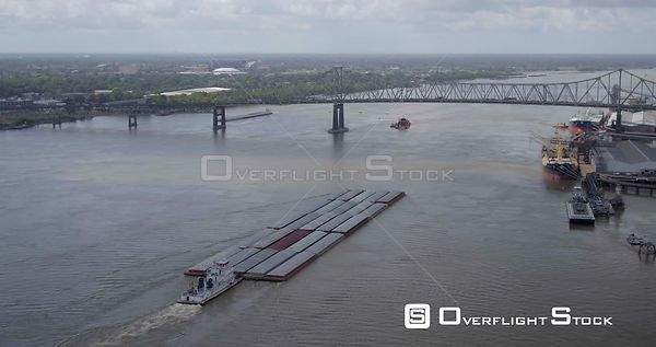 Drone Video of Horace Wilkinson Bridge Baton Rouge Louisiana and Barge on Mississippi River