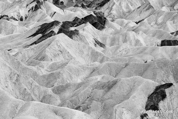 COLORFUL BADLANDS DEATH VALLEY CALIFORNIA BLACK AND WHITE