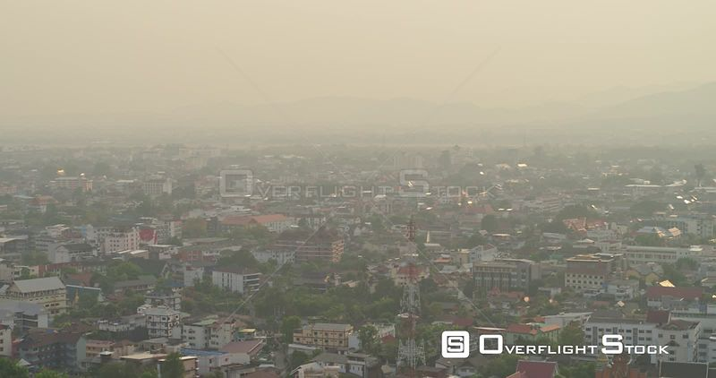 Chang Mai Thailand Aerial Traveling birdseye cityscape with pretty sunlight