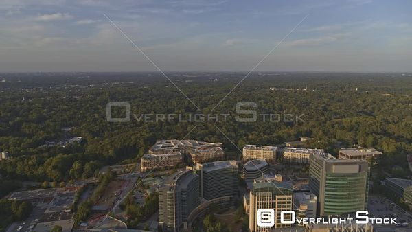Atlanta Panoramic cityscape from vantage of overtop CDC, Emory Campus at sunset