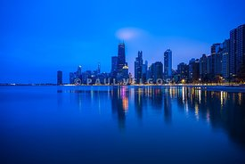 Blue Chicago Skyline at Night Photo