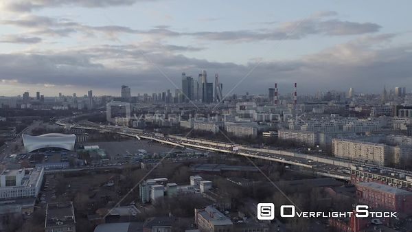 Dusk Flight Towards Moscow City, Over the Urban Landscape. Moscow Russia Drone Video View