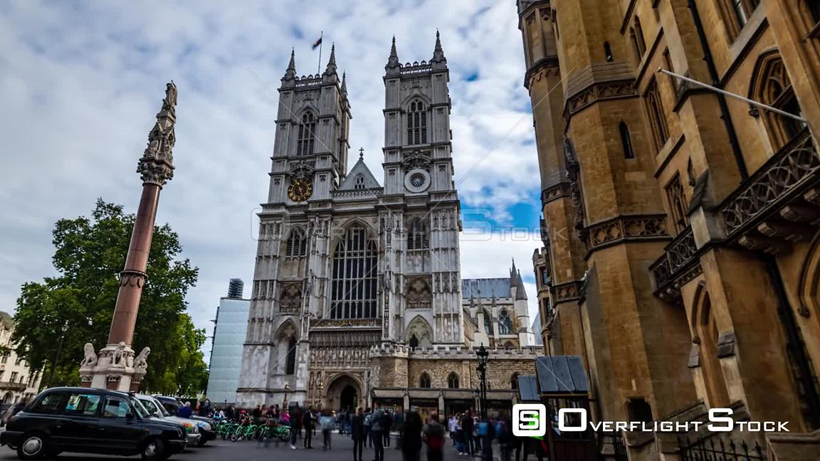 Time lapse view of Westminster abbey in London, north facade