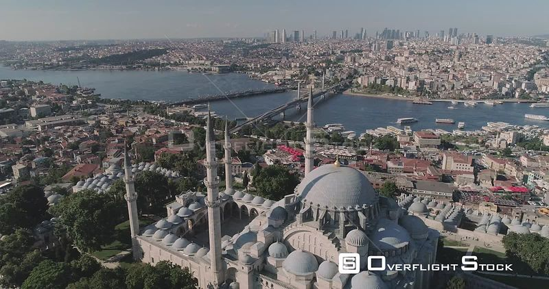 Aerial View of Suleymaniye Kulliyesi Mosque With Istanbul Cityscape Turkey