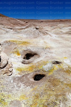 Sulphur deposits around old inactive fumarole vents at Sol de Mañana geothermal field, Eduardo Avaroa Andean Fauna National R...