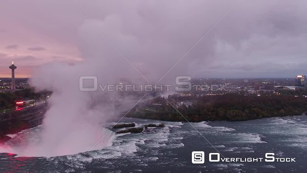 Niagara Falls Ontario Scenic panoramic view of Horseshoe Falls at sunset