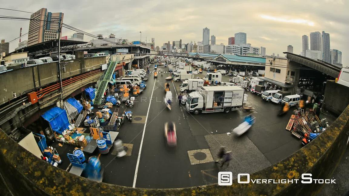 City traffic time lapse of busy Tokyo fish market. Japan