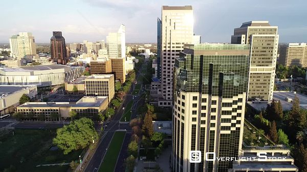 Modern Highrise Buildings of the Sacramento Skyline Drone Aerial View California