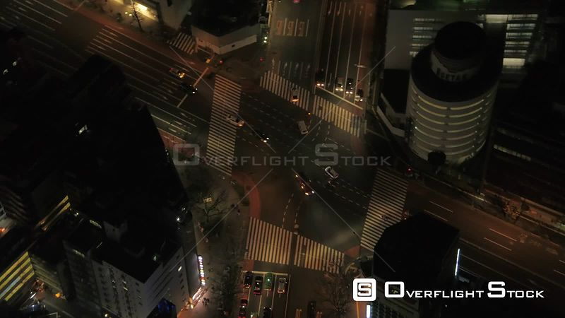 Japan Tokyo Aerial Flying over Yoyogi park panning with cityscape views