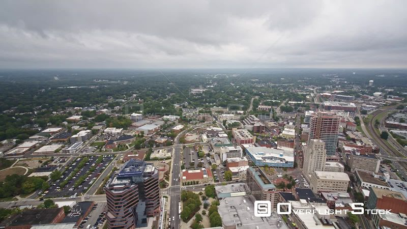 North Carolina Durham Aerial Panoramic cityscape from overtop downtown