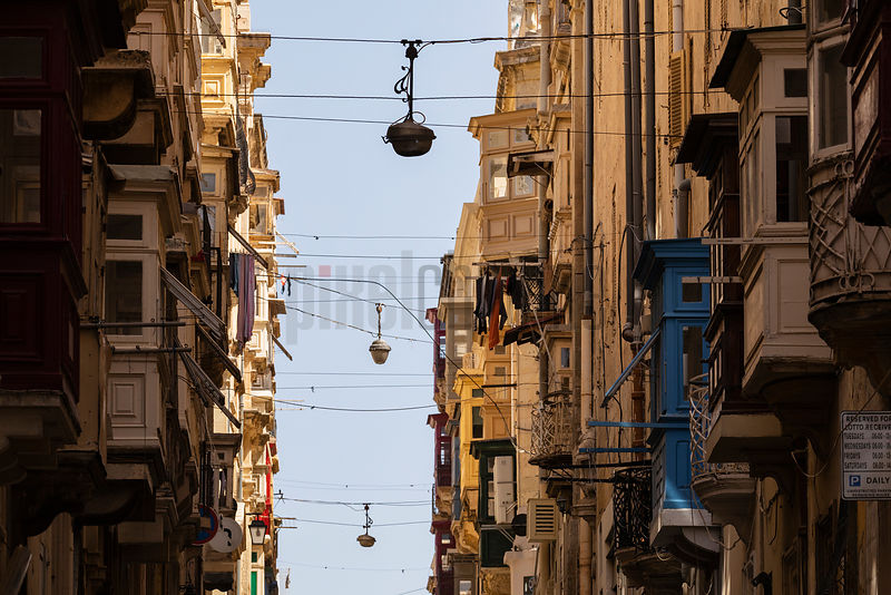 Steep Roads Lined with Houses with Maltese Balconies in Old Valletta