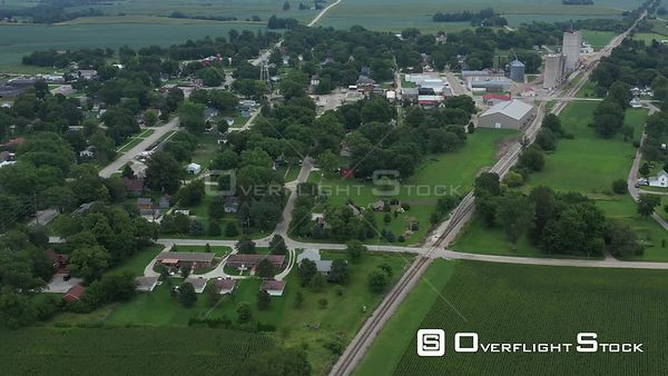 Over view of small town, Dexter, Iowa, USA