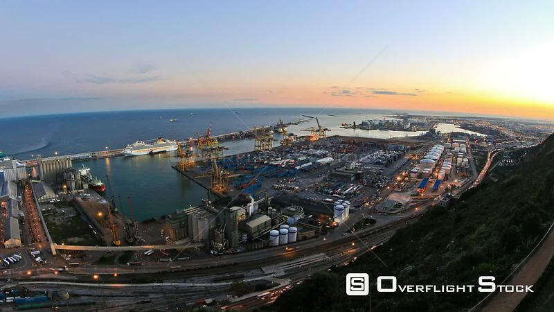 Barcelona Spain shipyard dock industry time lapse.