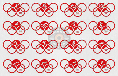 TOKYO, JAPAN, 24 July - 9 August 2020. Graphic interpretation for the the Tokyo Summer Olympics 2020 - Sport Icons 1.