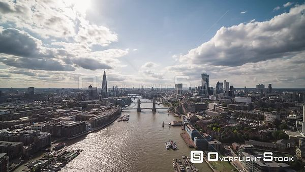 London Bridge and Thames River England Drone Video
