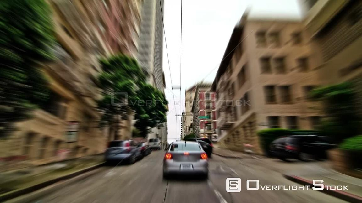 San Francisco California USA San Francisco city driving time lapse down Sacramento Street using a photo and zoom blur effects.