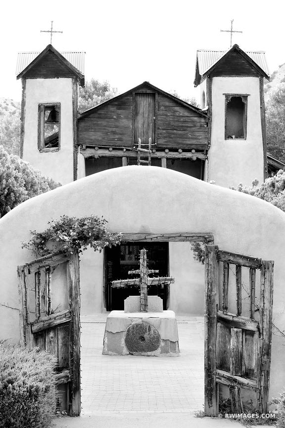 EL SANTUARIO DE CHIMAYO MISSION CHURCH NEW MEXICO BLACK AND WHITE VERTICAL