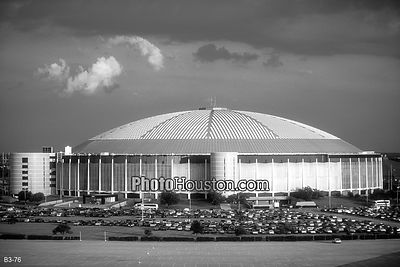 Houston Astrodome black and white photo