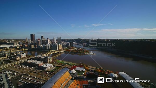 Pittsburgh Pennsylvania Panning away from downtown skyline looking overtop stadium