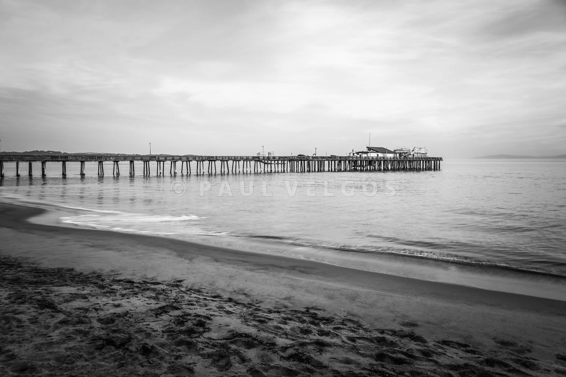 Capitola Beach Wharf Pier Black and White Photo