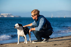 Man Pets Dog on Beach with Alcatraz in Background