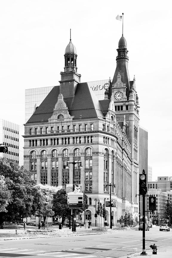 MILWAUKEE CITY HALL BUILDING DOWNTOWN MILWAUKEE WISCONSIN HISTORIC ARCHITECTURE BLACK AND WHITE VERTICAL