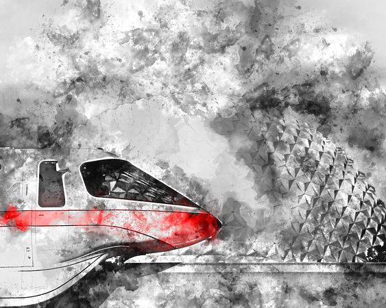 Monorail Red and Spaceship Earth | Digital Watercolor Canvas Gallery Wrap