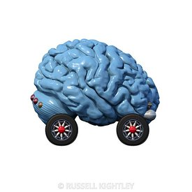 Autonomous Brain Car on White