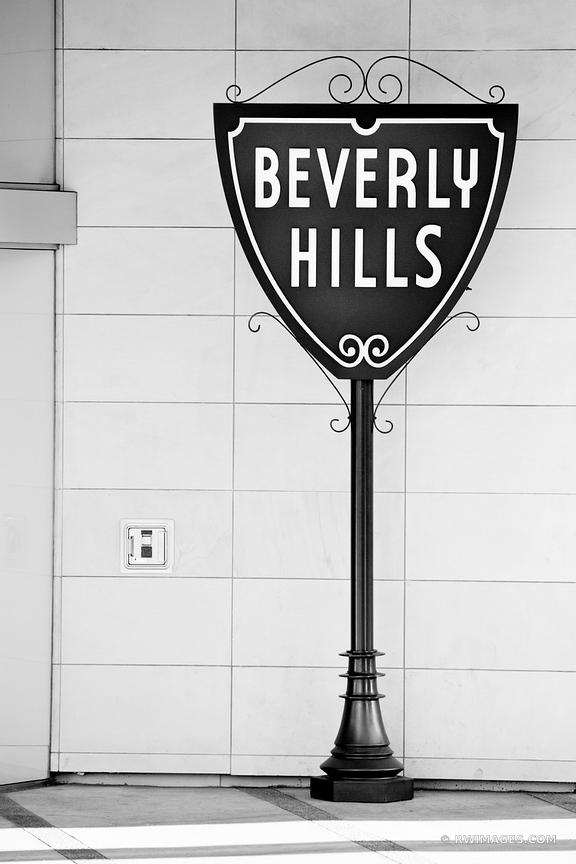 BEVERLY HILLS CALIFORNIA SIGN BLACK AND WHITE VERTICAL