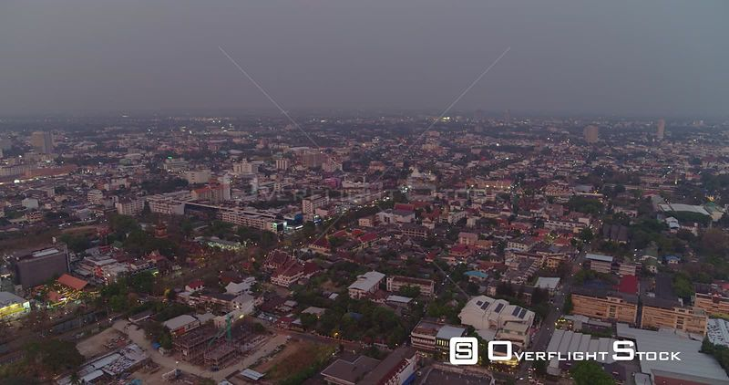 Chang Mai Thailand Aerial Panoramic birdseye cityscape at dusk